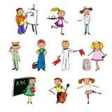 Caracteres de las profesiones de los niños Fotografía de archivo libre de regalías