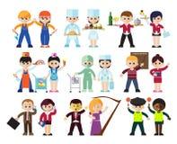Caracteres de las profesiones de los niños fijados libre illustration