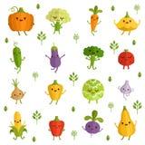 Caracteres de las verduras con emociones divertidas Ejemplo del vector en estilo cómico libre illustration