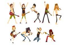 Caracteres de los artistas de la roca fijados Músicos jovenes con las guitarras eléctricas y los micrófonos Gente de la historiet stock de ilustración