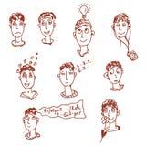 Caracteres de los hombres - caras divertidas Foto de archivo