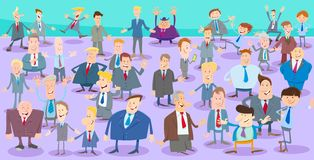 Caracteres de los hombres de negocios de la historieta grupo grande libre illustration