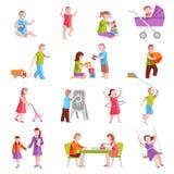 Caracteres de los niños fijados Fotografía de archivo