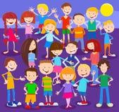 Caracteres de los niños de la historieta grupo grande ilustración del vector
