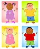 Caracteres de los niños de Cartoonish Foto de archivo libre de regalías