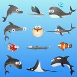 Caracteres de los pescados de la historieta Imagen de archivo libre de regalías