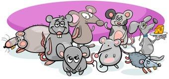 Caracteres de los ratones de la historieta con queso stock de ilustración