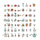 Caracteres de los utensilios de la cocina, iconos del dibujo de bosquejo Fotos de archivo libres de regalías