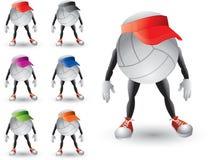 Caracteres de los voleiboles con el visera coloreado múltiple ilustración del vector