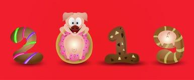 Caracteres de signo 2019 del cerdo del zodiaco de la Feliz Año Nuevo con color de fondo rojo simple stock de ilustración