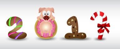 Caracteres de signo 2019 del cerdo del zodiaco de la Feliz Año Nuevo con la galleta y el buñuelo stock de ilustración