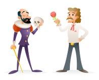 Caracteres de Theater Stage Man del actor medievales y ejemplo moderno del vector de la plantilla del diseño de la historieta de  Foto de archivo