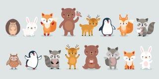 Caracteres del arbolado - oso, zorro foto de archivo libre de regalías