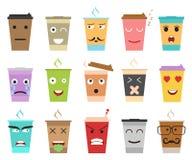 Caracteres del café o del té de la taza del color de la historieta fijados Vector ilustración del vector