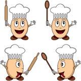 Caracteres del cocinero del huevo de la historieta Imágenes de archivo libres de regalías