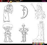 Caracteres del cuento de hadas que colorean la página Fotos de archivo