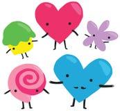 Caracteres del día de tarjeta del día de San Valentín fijados Fotografía de archivo libre de regalías