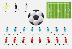 40 Caracteres del fútbol y campo y fútbol Foto de archivo