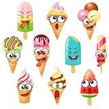 Caracteres del helado de la historieta, emoticons ilustración del vector