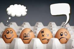 Caracteres del huevo del globo del pensamiento Imagenes de archivo