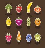 Caracteres del icono de la fruta y verdura del robot Imagen de archivo libre de regalías