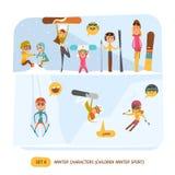 Caracteres del invierno fijados Deporte Imágenes de archivo libres de regalías