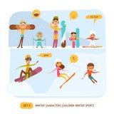 Caracteres del invierno fijados Deporte Fotos de archivo libres de regalías