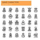Caracteres del juego, iconos perfectos del pixel ilustración del vector