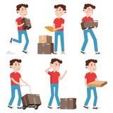 Caracteres del mensajero, hombre de entrega que sostiene las cajas en diversas actitudes Envío, servicio de la logística en negoc Foto de archivo libre de regalías