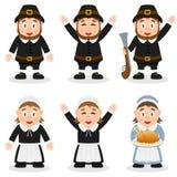 Caracteres del peregrino del día de la acción de gracias fijados stock de ilustración