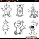 Caracteres del robot que colorean la página Foto de archivo