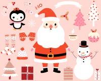 Caracteres del vector de la Navidad y sistema de elementos del diseño Foto de archivo