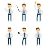 Caracteres del vector: individuo de la oficina en diversas actitudes estáticas Fotos de archivo libres de regalías