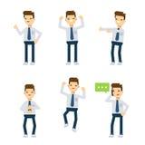 Caracteres del vector: individuo de la oficina que es feliz Imagenes de archivo