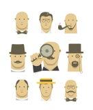 Caracteres detectives de los caballeros del vintage Foto de archivo