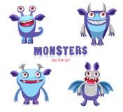 Caracteres divertidos de los monstruos de la historieta Monstruos de Halloween para los niños Dibujos lindos del monstruo Imágenes de archivo libres de regalías