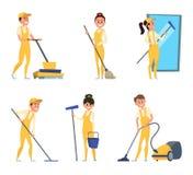 Caracteres divertidos del servicio de la limpieza o del técnico libre illustration