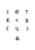 Caracteres especiales de la fuente de la mancha blanca /negra fijados Imágenes de archivo libres de regalías