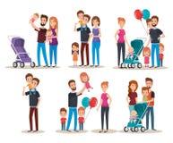 Caracteres felices de la familia linda determinada Fotografía de archivo libre de regalías
