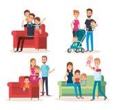 Caracteres felices de la familia linda determinada Fotografía de archivo