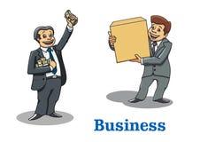 Caracteres felices de los hombres de negocios de la historieta Imagenes de archivo