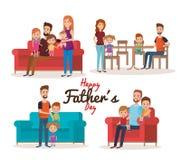 Caracteres felices del día de padres Imagen de archivo libre de regalías