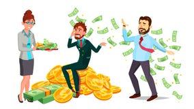 Caracteres felices hombre y vector del millonario de mujer ilustración del vector
