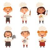 Caracteres fijados de cocineros de los niños Mascotas de la historieta en diversas actitudes dinámicas ilustración del vector