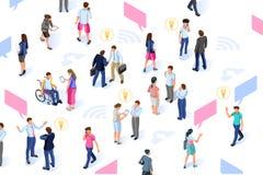 Caracteres isométricos de Infographic del desarrollo del intercambio de ideas stock de ilustración