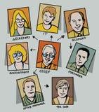Caracteres, jerarquía y posición del asunto-peo Foto de archivo libre de regalías