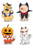 Caracteres lindos de Halloween de los animales Imagen de archivo libre de regalías