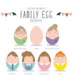Caracteres lindos de la familia de los huevos de Pascua Fotografía de archivo libre de regalías