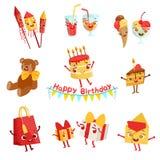Caracteres lindos de las cosas de la celebración de la fiesta de cumpleaños fijados stock de ilustración