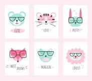 Caracteres lindos en 6 tarjetas en colores en colores pastel Dise?o del vector stock de ilustración